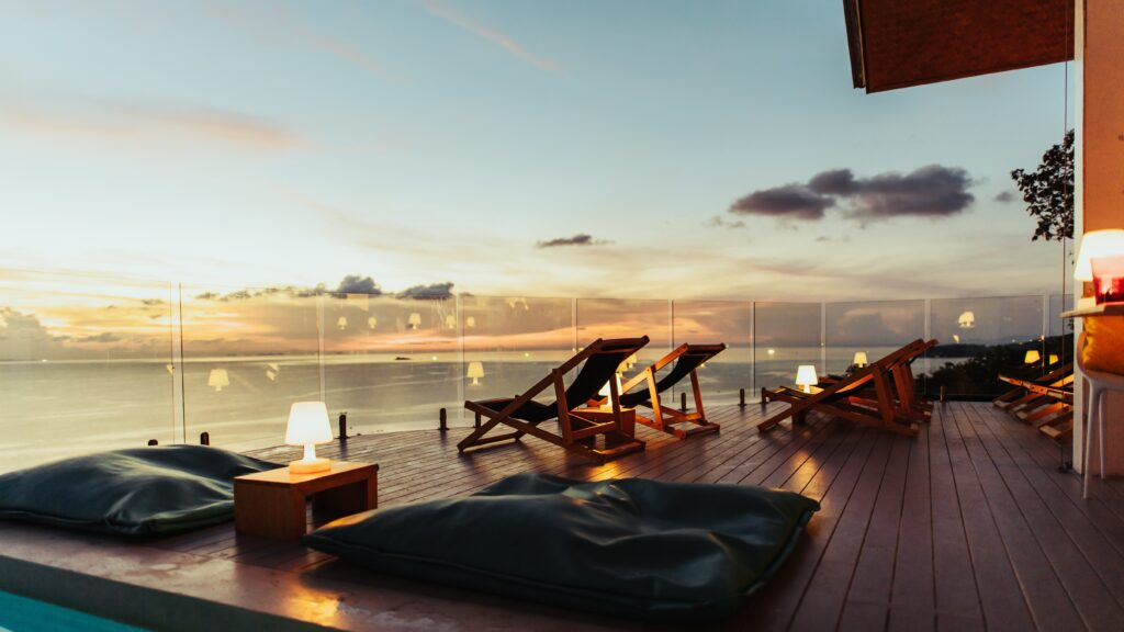 Luxurious Poolside Decking Overlooking the Sea