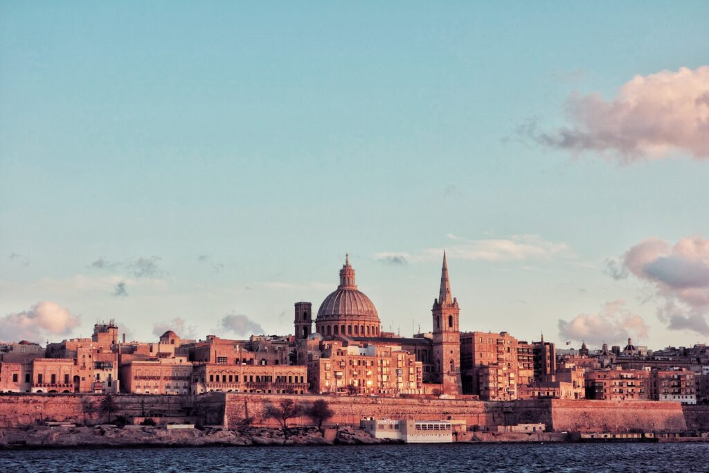A section of Valletta City's skyline, as viewed from the water.